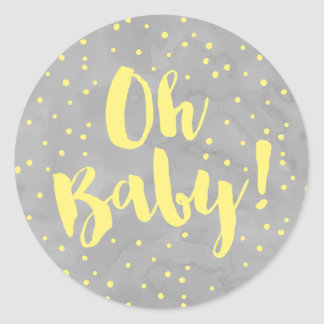 Oh Baby Gray and Yellow Watercolor Baby Shower Round Sticker