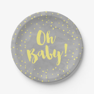 Oh Baby Grey and Yellow Watercolor Baby Shower 7 Inch Paper Plate