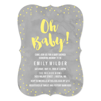 Oh Baby Grey and Yellow Watercolor Baby Shower Card