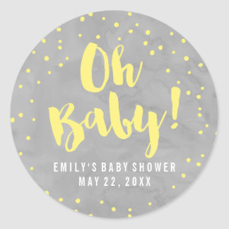 Oh Baby Grey and Yellow Watercolor Baby Shower Classic Round Sticker