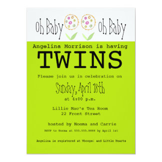 Oh Baby It's Twins - Baby Shower Invitation