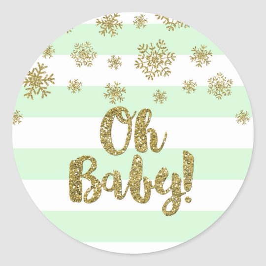 Oh Baby! Mint Stripe Gold Snow Winter Baby Shower Classic Round Sticker