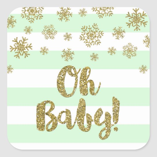Oh Baby! Mint Stripe Gold Snow Winter Baby Shower Square Sticker