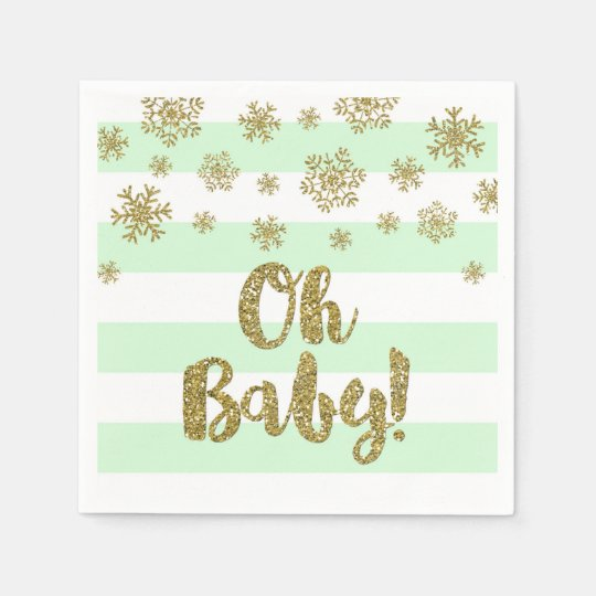 Oh Baby! Mint Stripes Gold Snow Baby Shower Disposable Serviettes