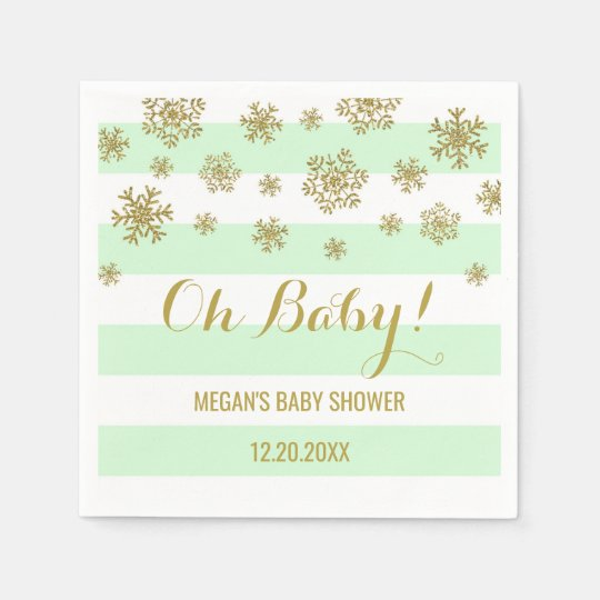 Oh Baby! Mint Stripes Gold Snow Baby Shower Paper Serviettes