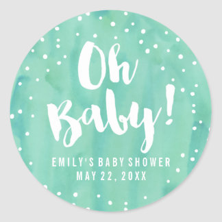 Oh Baby Mint Watercolor Baby Shower Round Sticker