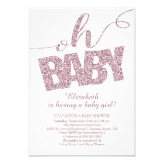 Oh Baby! Modern Glitter Baby Shower Invitation