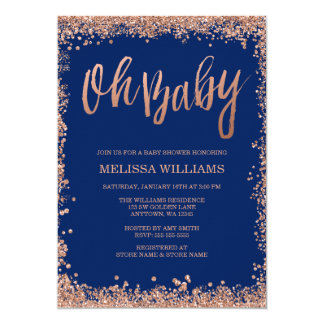 Oh Baby Navy Faux Rose Gold Glitter Baby Shower 13 Cm X 18 Cm Invitation Card