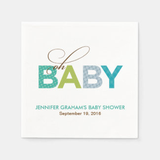 Oh Baby Patterned Baby Shower Napkin in Aqua Disposable Napkins