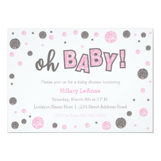 oh Baby Pink and gray glitter shower invitation