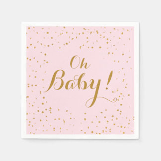 Oh Baby! Pink & Gold Confetti Napkins Disposable Serviette