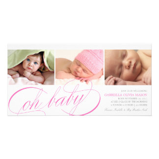 Oh Baby | Pink Script Birth Announcement Personalized Photo Card