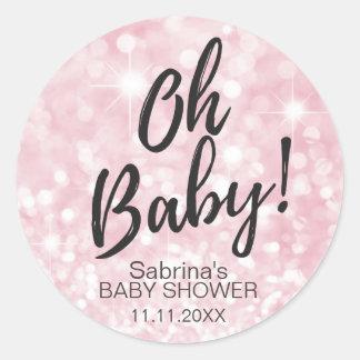 OH BABY! Pink Sparkle Glitter Baby Shower Girl Round Sticker