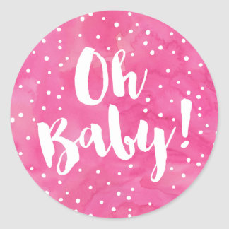 Oh Baby Pink Watercolor Baby Shower Classic Round Sticker