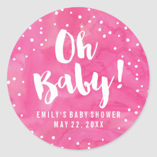 Oh Baby Pink Watercolor Baby Shower Round Sticker