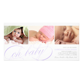 Oh Baby | Purple Script Birth Announcement Picture Card