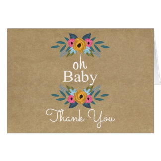 Oh Baby! Rustic Kraft Floral Wreath Baby Shower Card