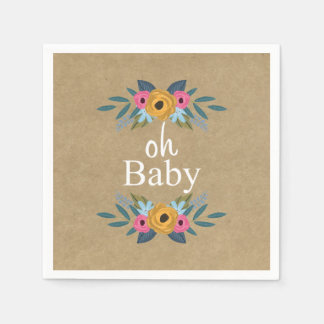 Oh Baby! Rustic Kraft Floral Wreath Baby Shower Paper Serviettes