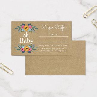 Oh Baby! Rustic Kraft Floral Wreath Diaper Raffle Business Card