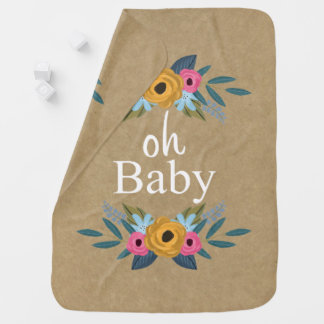 Oh Baby! Rustic Kraft Floral Wreath Swaddle Blankets