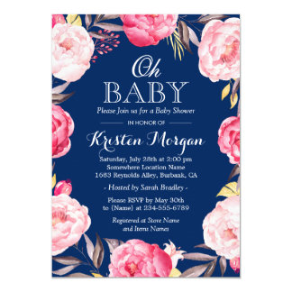 Oh Baby Shower Botanical Floral Wreath Navy Blue 13 Cm X 18 Cm Invitation Card