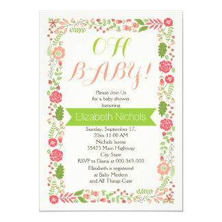 Oh Baby shower coral pink lovely floral border Card
