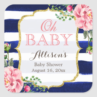 Oh Baby Shower Cute Pink Floral Navy Blue Stripes Square Sticker