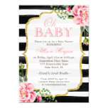Oh Baby Shower Floral Gold Black White Stripes 13 Cm X 18 Cm Invitation Card