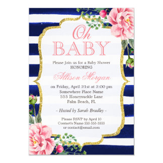 Oh Baby Shower Floral Gold Navy Blue Stripes 13 Cm X 18 Cm Invitation Card