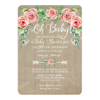 Oh Baby Shower Girl Flower Crown Barn Wood Boards 13 Cm X 18 Cm Invitation Card