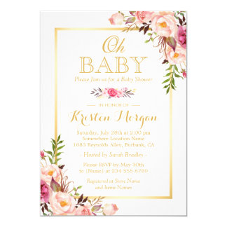 Oh Baby Shower Graceful Chic Floral Gold Frame 13 Cm X 18 Cm Invitation Card