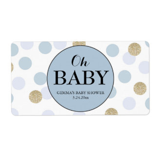 Oh Baby Shower Mini Champagne Label Boy Shipping Label