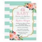 Oh Baby Shower Mint Green Stripes Pink Floral Card