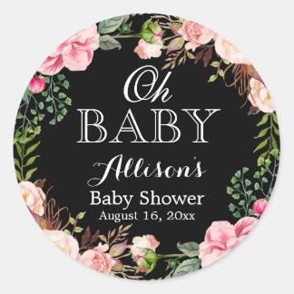 Oh Baby Shower Modern Romantic Floral Decor Round Sticker