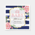 Oh Baby Shower Pink Floral Navy Blue Stripes Paper Napkin