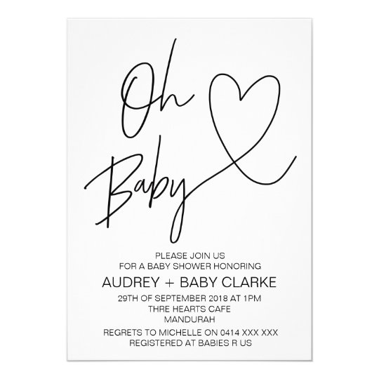 Oh Baby Unisex Baby Shower Invitation Zazzle Com Au