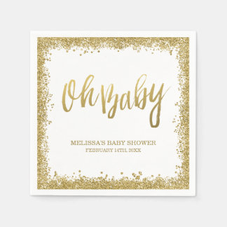 Oh Baby White Gold Faux Glitter Baby Shower Disposable Serviettes