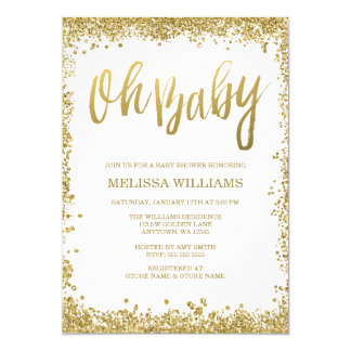 Oh Baby White Gold Glitter Baby Shower 13 Cm X 18 Cm Invitation Card