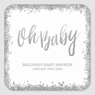 Oh Baby White Silver Faux Glitter Baby Shower Square Sticker