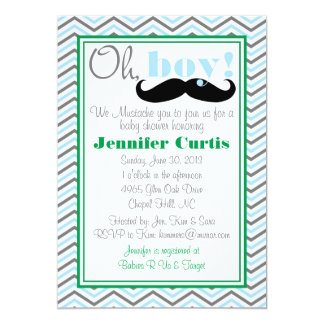 Oh Boy Baby Shower Invitation, Mustache Card