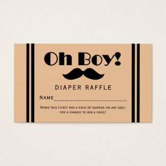 Oh Boy Black Mustache Baby Diaper Raffle Ticket