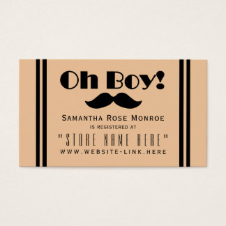 Oh Boy Black Mustache Baby Shower Gift Registry Business Card