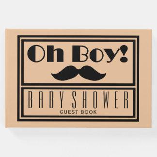 Oh Boy Black Mustache Baby Shower Guest Book