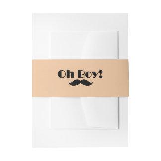 Oh Boy Black Mustache Baby Shower Invitation Belly Band