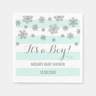 Oh Boy! Blue Stripes Silver Winter Baby Shower Paper Napkin