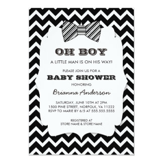OH BOY Bow tie baby shower / black white chevron 13 Cm X 18 Cm Invitation Card