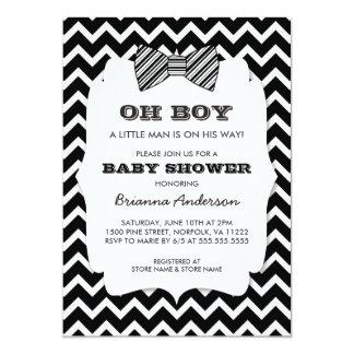 OH BOY Bow tie baby shower / black white chevron Card