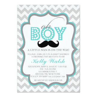 Oh Boy Chevron Mustache Baby Shower Invitation
