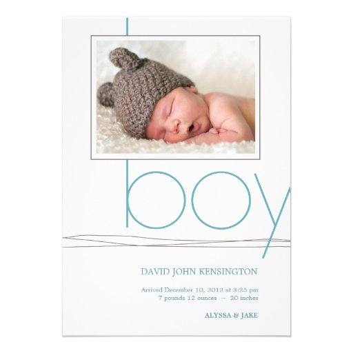 Oh Boy Custom Photo Birth Announcement