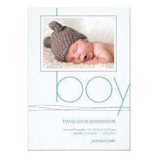 "Oh Boy Custom Photo Birth Announcement 5"" X 7"" Invitation Card"